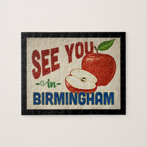 Birmingham Alabama Apple - Vintage Travel Jigsaw Puzzle