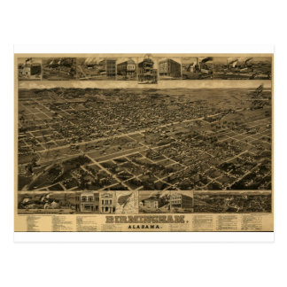 Birmingham Alabama Late 1800's Birds Eye View Postcard