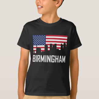 Birmingham Alabama Skyline American Flag T-Shirt