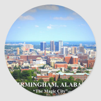 Birmingham, Alabama Skyline Classic Round Sticker