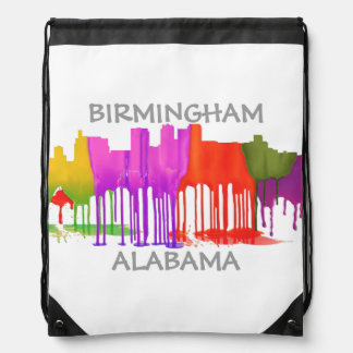 BIRMINGHAM ALABAMA SKYLINE - PUDDLES - DRAWSTRING BACKPACK