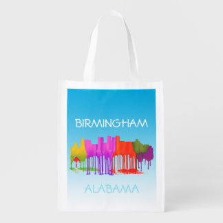 BIRMINGHAM ALABAMA SKYLINE - PUDDLES - REUSABLE GROCERY BAG