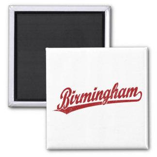 Birmingham script logo in red 2 inch square magnet