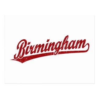 Birmingham script logo in red postcard