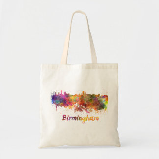 Birmingham skyline in watercolor tote bag