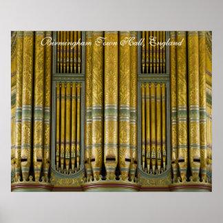 Birmingham Town Hall organ poster