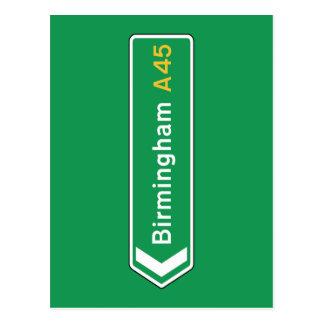 Birmingham, UK Road Sign Postcard