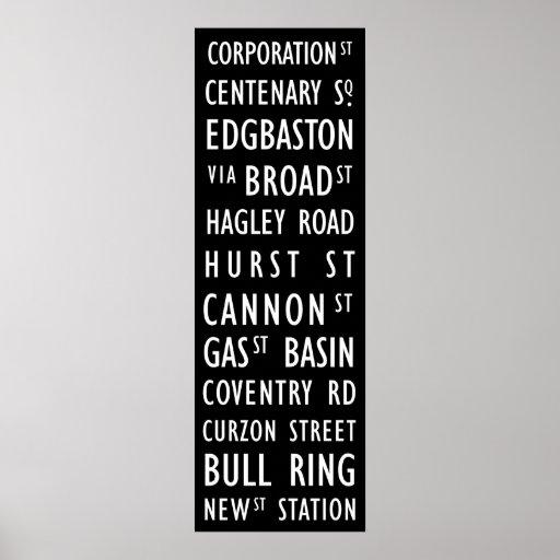 Birmingham Vintage Transit Scroll Posters