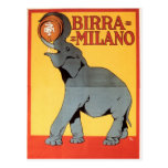 Birra Milano Vintage Elephant Postcard