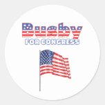 Birretina para el diseño patriótico de la bandera etiqueta redonda