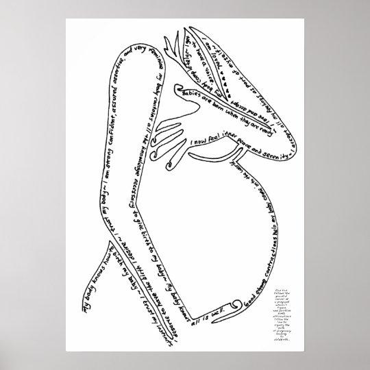 Birth Affirmations Line Art Poster