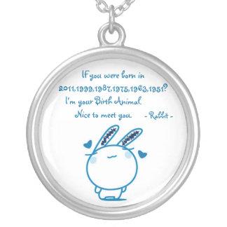 Birth animal-rabbit round pendant necklace
