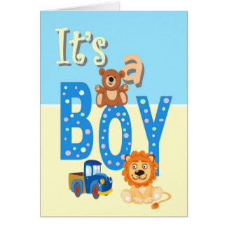 Birth Annoucement - It's A Boy Toys Card