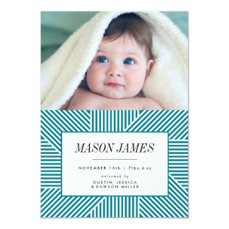 Birth Announcement, Baby Announcement, Blue, Boy Card