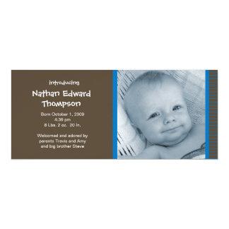"Birth Announcement - Blue and Brown Pinstripes 4"" X 9.25"" Invitation Card"