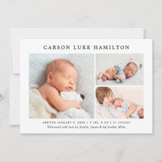 Birth Announcement Card | Classic Photo Collage