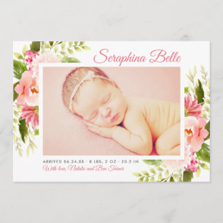 Birth Announcement Card | Pink Watercolor Flowers