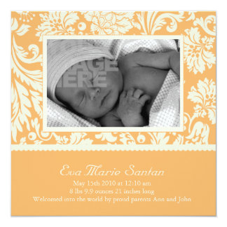 Birth Announcement - creamsicle floral