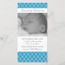 Birth Announcement Diamond Pattern Photo Card