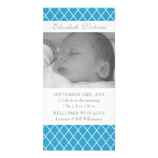 Birth Announcement Diamond Pattern Photo Card