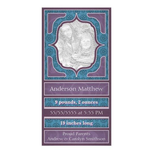 Birth Announcement Elegant Purple Blue