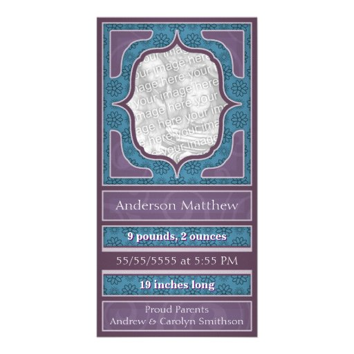 Birth Announcement Elegant Purple Blue Photo Card Template