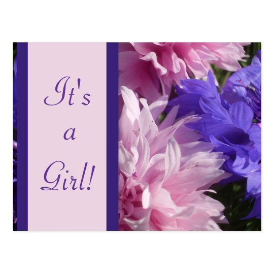 "Birth Announcement - Floral ""It's a Girl!"" Postcard"