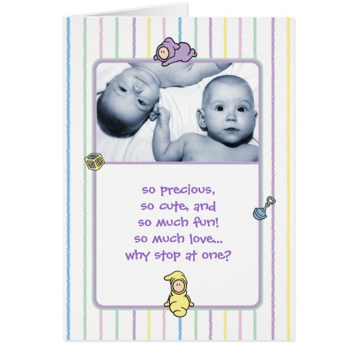 Birth Announcement for Twins Greeting Card