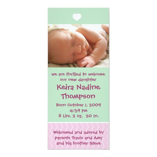Birth Announcement - Green/Pink with heart