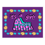 Birth Announcement: It's A Girl! With Bassinet Postcard