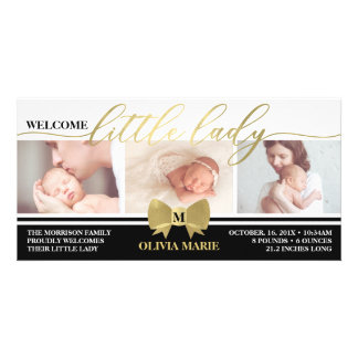 Birth Announcement, Little Lady, Faux Gold Foil Card