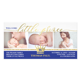Birth Announcement, Little Prince, Faux Gold Foil Card