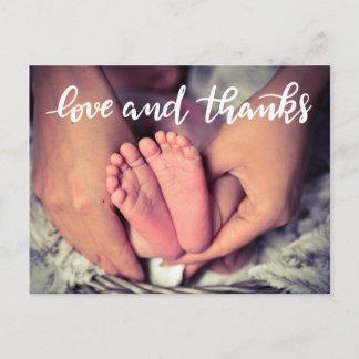 Birth Announcement Love And Thanks Script Photo