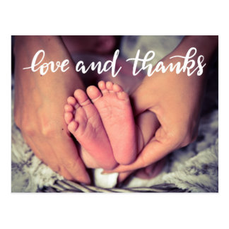 Birth Announcement Love And Thanks Script Photo Postcard