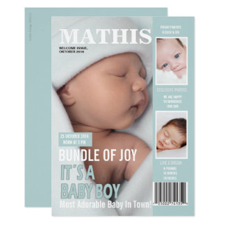Birth Announcement Magazine Cover 3 Photos