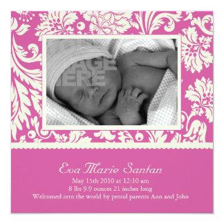 Birth Announcement - magenta floral