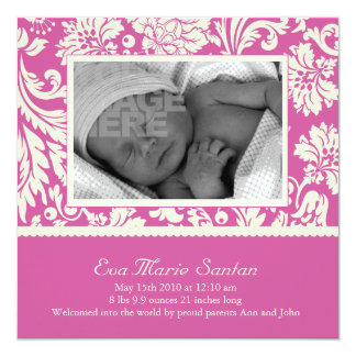 Birth Announcement - magenta floral
