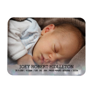 Birth Announcement Modern Glitter Bokeh Magnet