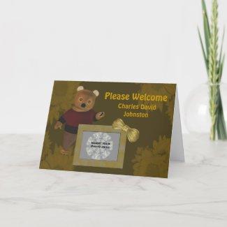 Birth Announcement New Baby Cute Bear Photo Card card
