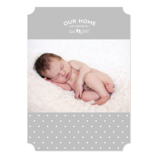 Birth announcement: our home has grown by two feet card