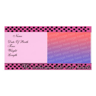 Birth Announcement Pink and Black Polka Dots Phot