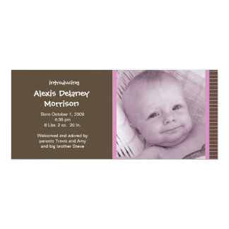 """Birth Announcement - Pink and Brown Pinstripes 4"""" X 9.25"""" Invitation Card"""