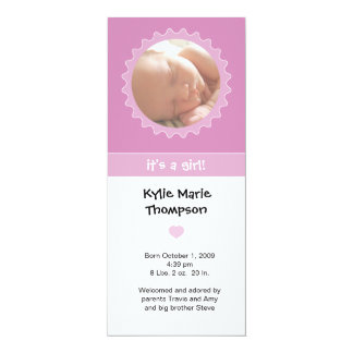 Birth Announcement - Pink & white ruffle frame