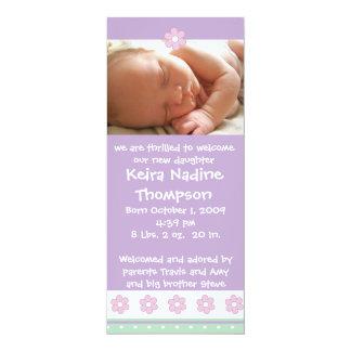 "Birth Announcement - Purple/Green/Pink Flowers 4"" X 9.25"" Invitation Card"