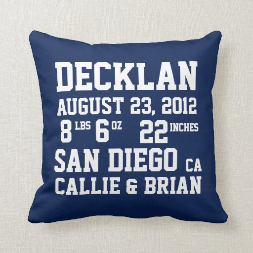 Birth Announcement Stats Navy Pillow