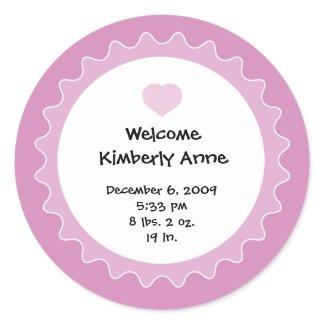 Birth Announcement Sticker for Baby Shower favor sticker