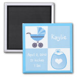Birth Announcement Stroller & Bib - Blue Fridge Magnet