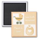 Birth Announcement Stroller & Bib - Yellow Fridge Magnets