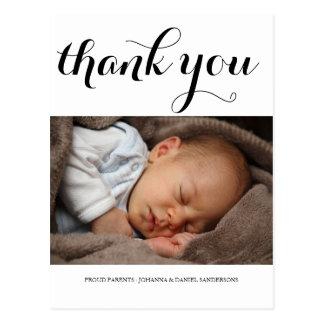 Birth Announcement Thank You Modern Script Photo Postcard