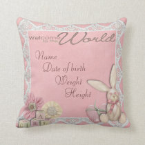 Birth announcement throw pillow